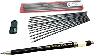 Koh-i-noor Toison D'or 5900CL ALL Metal Lead Holder 2mm with 12 pieces 2B lead refill & 1 lead Sharpener, technical drawing mechanical drafting pencil set