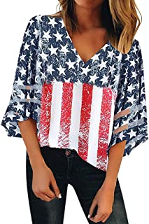 WOCACHI Womens Off Shoulder V Neck Mesh Panel Blouse 3/4 Bell Sleeve Tops Shirts