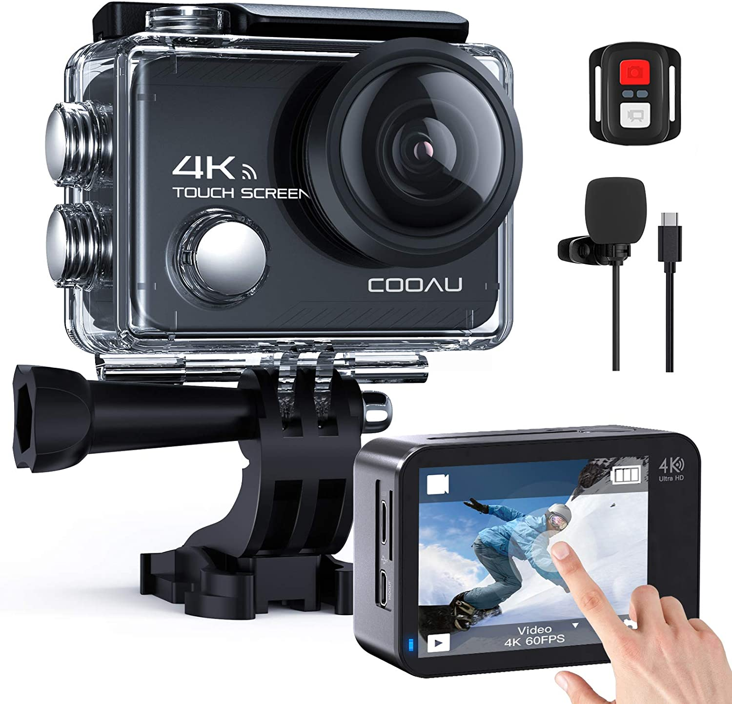 COOAU Native 4K 60fps 20MP Touch Max 53% OFF Sport Camera Action Screen WiFi Challenge the lowest price of Japan ☆