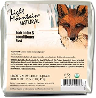 Light Mountain Natural Bulk Hair Color and Conditioner, Red, 16 Ounce