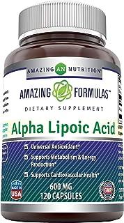 Amazing Formulas Alpha Lipoic Acid * 600mg 120 Capsules Per Bottle * Pure ALA Capsules (Non-GMO,Gluten Free)- Ideal Formul...
