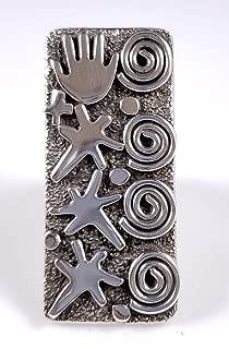 Sterling Silver Heavy Ring Petroglyph Design Handmade By Navajo Alex Sanchez