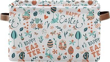 Mnsruu Duży składany kosz do przechowywania z uchwytami, Happy Easter, materiałowe składane pojemniki do przechowywania, o...