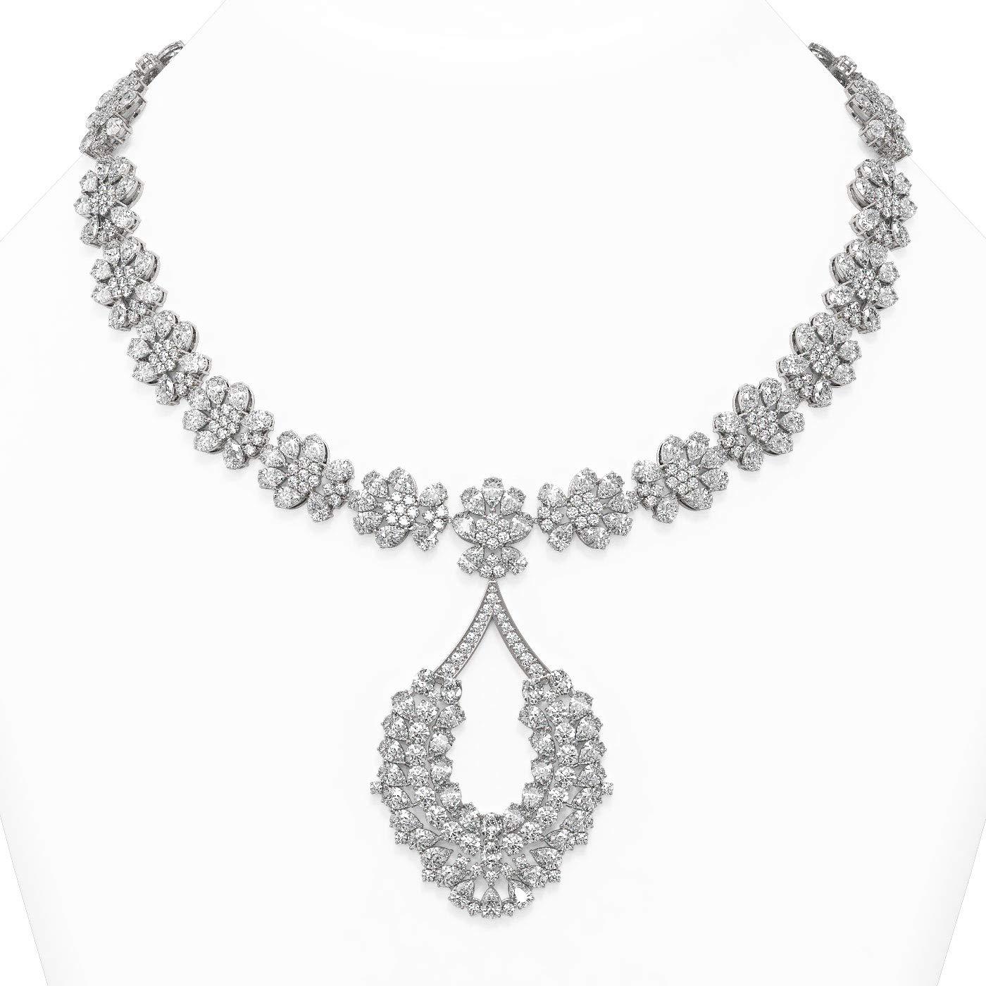 129 ctw Pear Cut Many popular brands Diamond 18K Necklace Max 69% OFF Designer