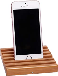2ARTEAM B2-02 Cell Phone Stand for iPhone, Android or Any Smart Phone with Slim Case - Class A Premium Bamboo Holder with Unique Flat, Magnetic Interlocking Design