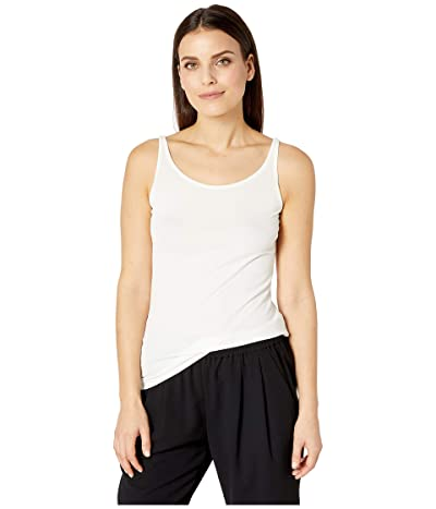 Eileen Fisher Petite Stretch Silk Jersey Scoop Neck Long Slim Cami (Soft White) Women