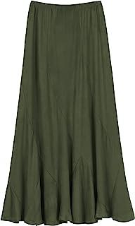 Urban CoCo Women's Vintage Elastic Waist A-Line Long Midi Skirt