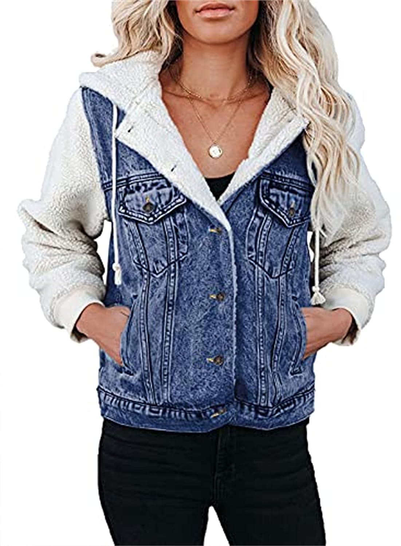 Womens Long Sleeve Denim Jackets Patchwork Fleece Hooded Coat Button Up Denim Jackets with Pockets (XX-Large,Blue)