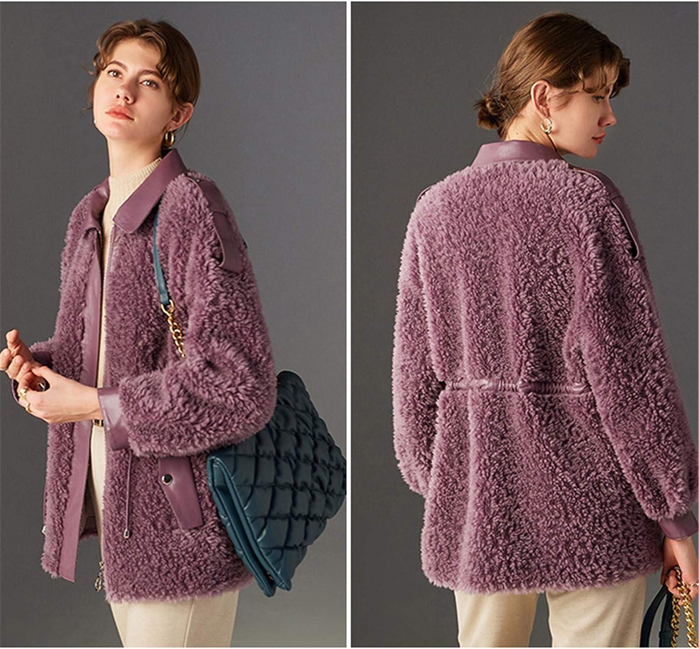 Snhpk Women 100% Wool Coat Faux Fur Fleece Plush Teddy Bear PU Jacket Thick Overcoat Warm Cool Parka Overwear,Purple,L