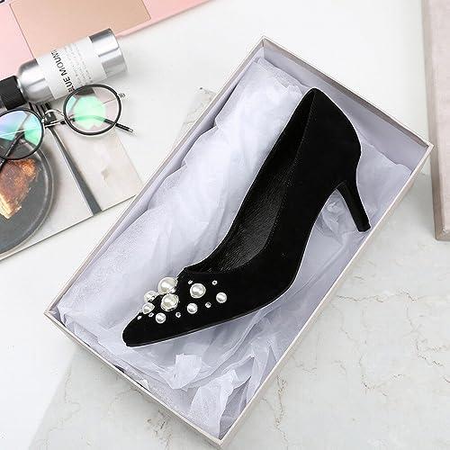 DIDIDD Printemps Talons Hauts Perle en Cuir Peu Profonde Bouche Chaussures avec des Chaussures de Femmes Simples,Noir,38