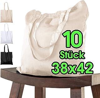 Baumwolltasche 38x42 cm 10 Stück unbedruckt, zwei lange Henkel OEKO-TEX® zertifiziert Stofftasche, Tragetasche, Baumwollbe...