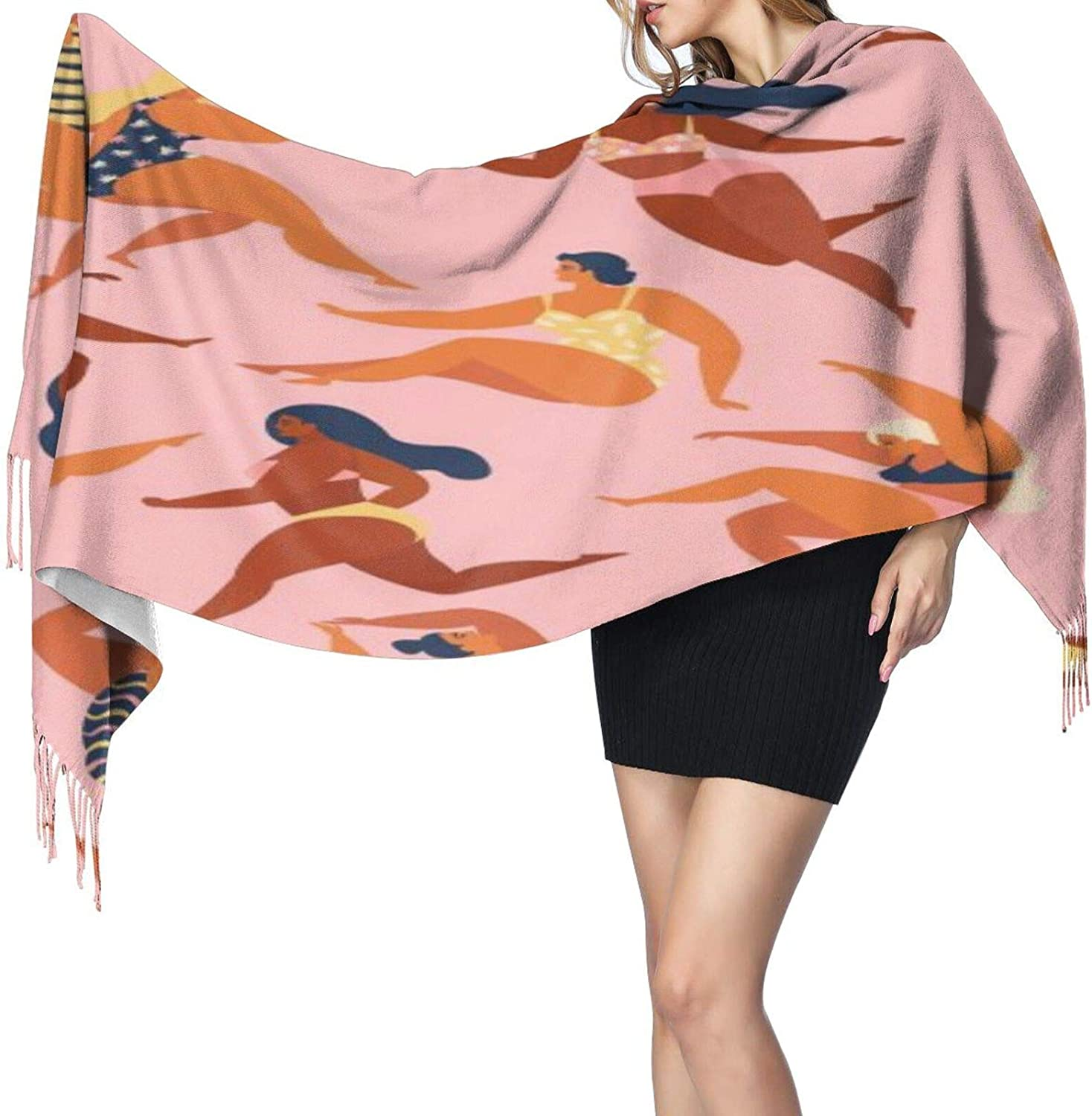 Cashmere fringed scarf Trendy with women in summer swimsuits winter extra large scarf