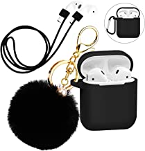 Silicone Case Cover with Cute Pompom Ball Keychain Compatible for Apple AirPods Charging Case – Shockproof Soft Skin and Anti-Lost Strap Suitable for Airpod Accessories (Black)