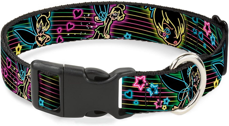 BuckleDown Electric Tinkerbell Poses Stripes Black Multi Neon Plastic Clip Collar, Narrow Medium 713