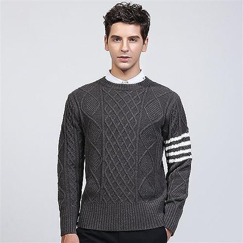 Jdfosvm Les Jeunes Hommes de Style Britannique Pull Chandail Manche tête Pull,gris,XXL