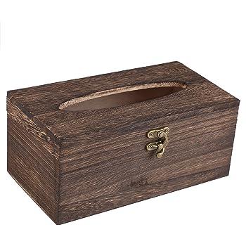 Fdit Caja de Pañuelos de Madera de Estilo Retro Caja de Papel Sostenedor de Servilleta para Coche Dormitorio Baño(22 * 12 * 10cm): Amazon.es: Hogar