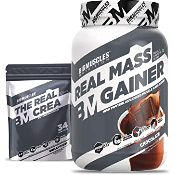 Bigmuscles Nutrition Real Mass Gainer [1Kg, Chocolate] with Free Real Crea 34 Servings | Lean Whey Protein Muscle Mass Gainer, Complex Carbohydrates, 1000 Calories