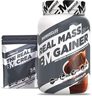 Bigmuscles Nutrition Real Mass Gainer [1Kg, Chocolate] with Free Real Crea 34 Servings | Lean Whey Protein Muscle Mass Gai...