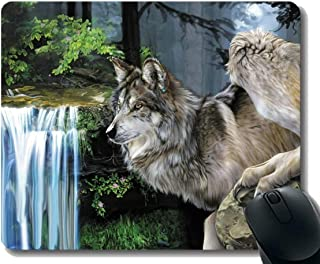 Rectangle Mouse Pad,Animal wolf waterfall Rubber Large Mouse pad Mat