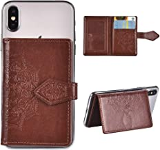 LolStore Card Holder ID Adhesive 3M Premium Stick Fashion Multi-Card Slot Wallet Case Credit Card Cash Pouch Attachment Compatible with Most Smartphones, Android and More,Brown