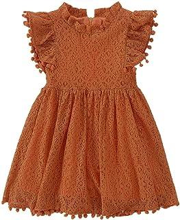 Best Toddler Girls Elegant Lace Pom Pom Flutter Sleeve Party Princess Dress Review