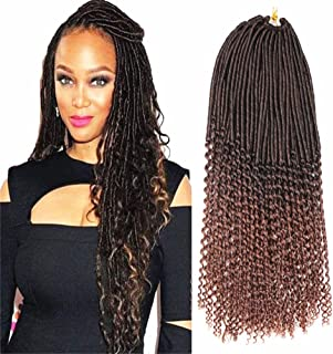 Mtmei hair 5Packs/Lot Synthetic Fiber Soft Faux Locs With Curly Ends Braids 20Inch 100g/Pack 24Roots Synthetic Soft Lock Crochet Hair Extensions (#T30)