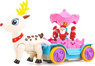Zooawa Christmas Music Box Santa Claus's Sleigh with Reindeer Electronic Fun Play Vehicle Toy with LED Flashing Light and Music - Colorful