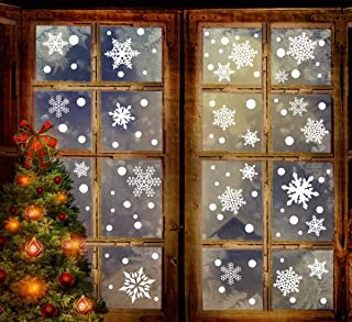 306PCS Christmas Snowflake Window Clings Decal Wall Stickers - Xmas/Holiday/Winter Wonderland White Party Decorations Supplies(6 Sheets)