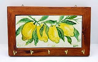 Portachiavi da Muro Limoni Ceramica Realizzato e dipinto a mano Le Ceramiche del Castello Made in Italy Dimensioni 18 x 23...
