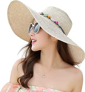 JOYEBUY Women's Floppy Big Brim Hat Bowknot Straw Hat Foldable Roll up Sun Hat