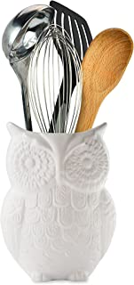 """Comfify Owl Utensil Holder Decorative Ceramic Cookware Crock & Organizer, in Lovely White Color - Utensil Caddy and Perfect Kitchen Ceramic Décor Gift - 5"""" x 7"""" x 4"""" Size"""