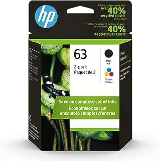 HP 63 | 2 Ink Cartridges | Black, Tri-color | Works with HP DeskJet 1112, 2100 Series, 3600 Series, HP ENVY 4500 Series, H...