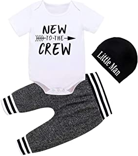Baby Boy Clothes Summer Newborn 3Pcs Romper Short Sleeve Tops +Pants+Hat