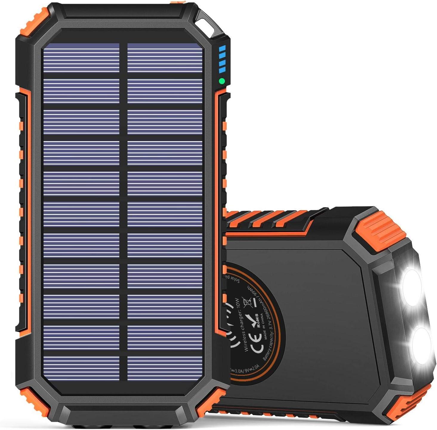 Solar Charger Power Bank 26800mAh, Hiluckey Wireless QC Orange