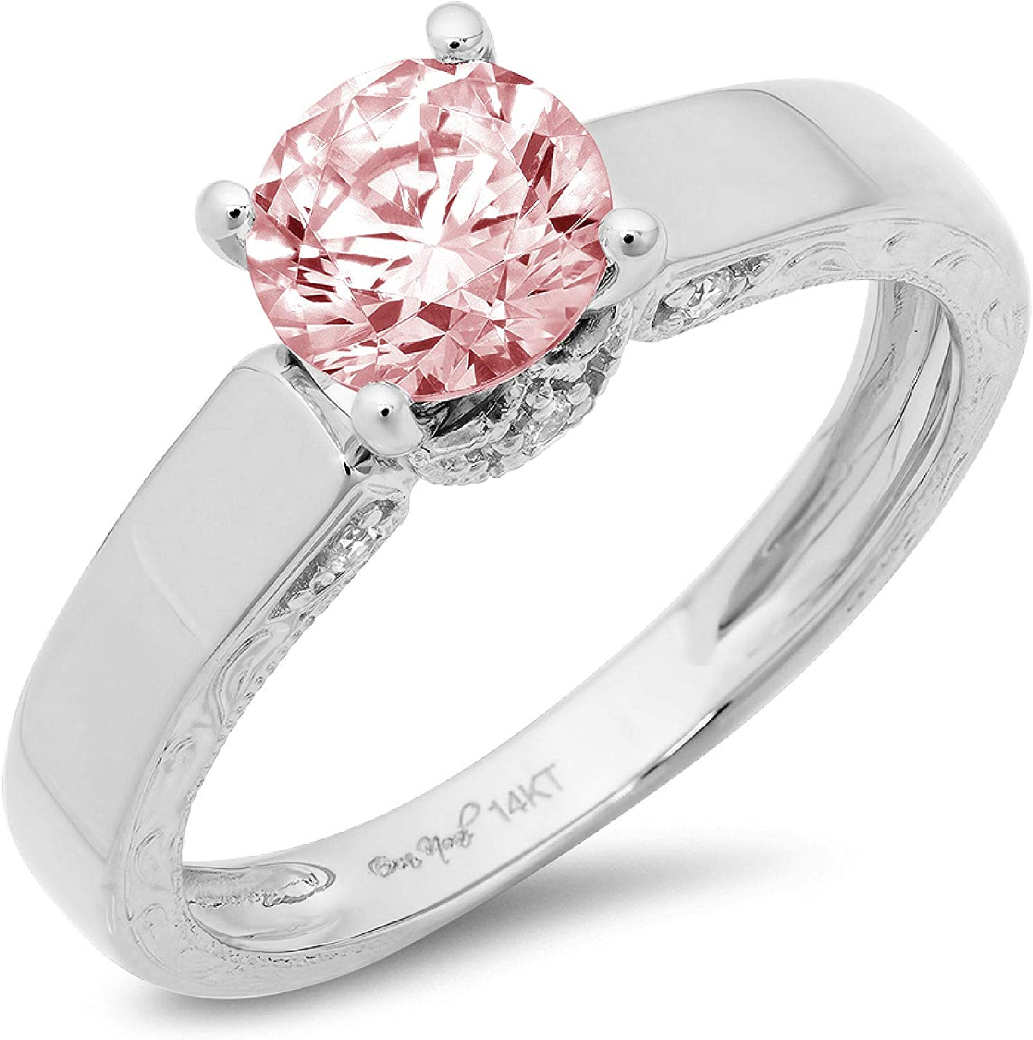 1.70ct Brilliant Round Cut Solitaire Genuine Flawless Pink Simulated Diamond Gemstone Engagement Promise Anniversary Bridal Wedding Accent Ring Solid 18K White Gold