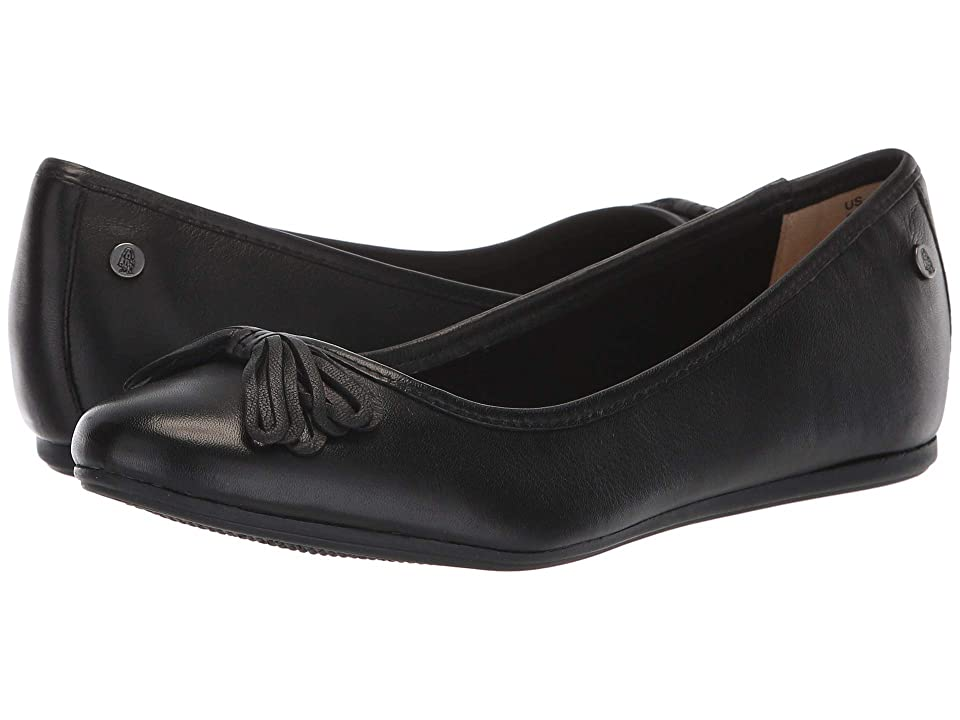 Hush Puppies Heather Bow Ballet (Black Leather) Women's Slip on Shoes