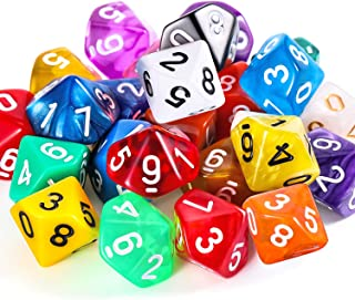 TecUnite 25 Pieces Polyhedral Dice Set with Black Pouch for DND RPG MTG and Other Table Games with Random Multi Colored Assortment (Color Set 2, D10)