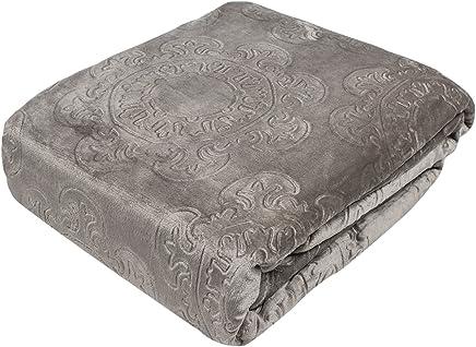Fraiche Maison Italian Tile Hot Pressed Velvet Plush Blanket,  King,  French Roast