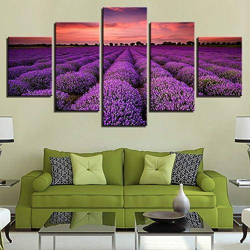 hasta un 65% de descuento YHEGV Impresiones En Lienzo Lienzo HD Imprime Poster Decoración Decoración Decoración para el hogar Marco 5 Piezas púrpura Campos de Lavanda Puesta de Sol Paisaje Pintura Salón Arte de la Parojo Imágenes  la calidad primero los consumidores primero