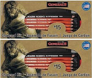 عبوتان - مجموعة أقلام رصاص عامة رقم 15 بلون الفحم، 12 قطعة لكل مجموعة