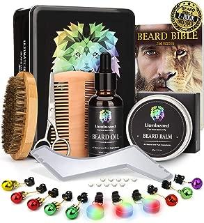 Lionbeard Metal Box Beard Kit for Men Beard Care Growth Grooming & Trimming - Beard Oil Conditioner, Beard Glitter Lights, Christmas Ornaments, Balm Wax, Brush, Comb, Scissors, Xmas Gifts for Him Dad
