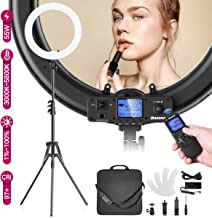 Dazzne 19inch Ring Light Kit with Remote Stand Camera Smartphone Holder 55w 4800Lux 3000K-5800K Bi-Color Dimmable for Selfie YouTube Video Twitch Live Stream Beauty Makeup Photography Lighting