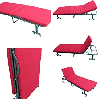 Amaze Folding Adjustable (190X80 cm) Portable Bed With Mattress With Wheels (Tometto Red)
