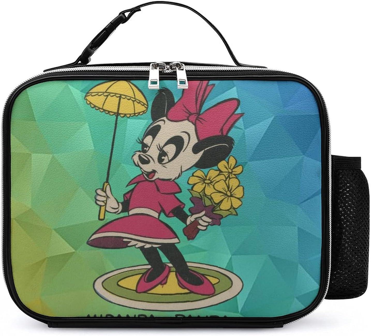 Panda an-dy Anime Merch San Antonio Free shipping Mall PU Lunch Leather Box Bag Portable