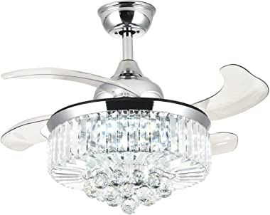 """Moooni 36"""" Retractable Ceiling Fans with Lights and Remote Invisble Chandelier Fan Dimmable LED Polished Chrome"""