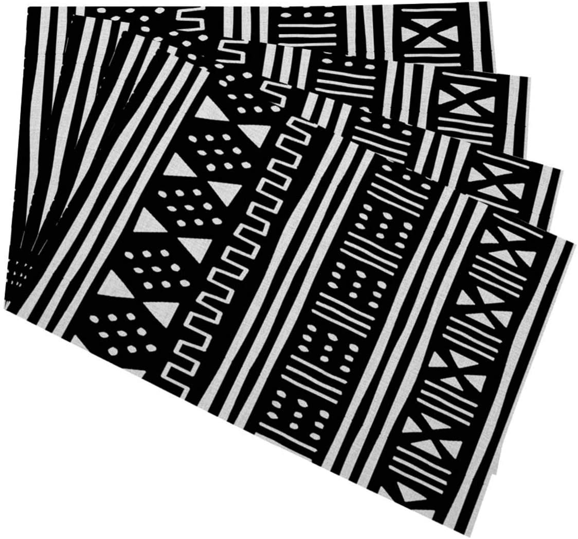 Mugod Placemats Afrocentric White Direct store Mudcloth Spring new work Black Mudprin African