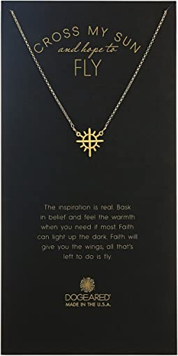 Dogeared - Cross My Heart and Hope To Fly, Cross w/ Rays Charm Necklace