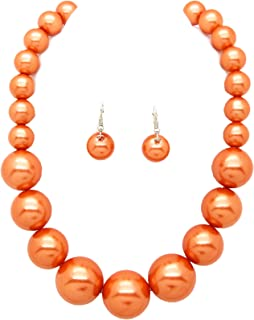 """Fashion 21 Women's Large Big Simulated Pearl Statement 18"""" Necklace and Earrings Set"""