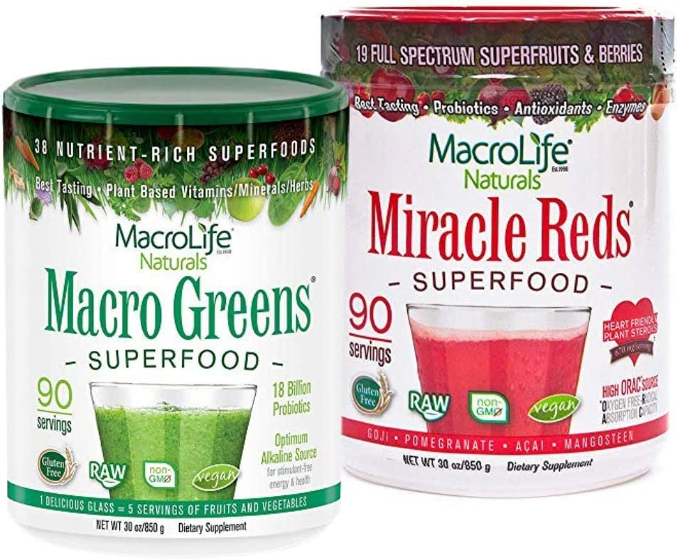MacroLife Naturals Macro Greens 30oz Superfo + Miracle At the price of lowest price surprise Reds