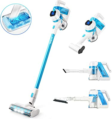 SIMPFREE Cordless Vacuum, 5 in 1Powerful Suction Stick Vacuum Cleaner with LED Brush, Lightweight Handheld Vacuum for Home Hard Floor Carpet Car Pet (V16)